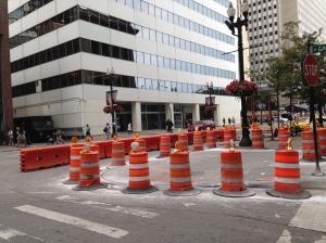 New cement work at north corner