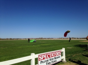 Watching skydivers in Skydive, AZ
