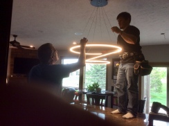 Marv, helping with new light fixtures, shortly before he passed away